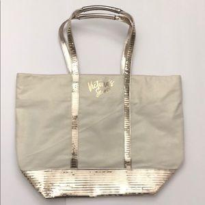 Victoria's Secret Gold Sequence Tote Bag NWOT